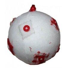 Χριστουγεννιάτικη Μπάλα Λευκή, με Τσόχα και Κόκκινα Κουμπιά (8cm)