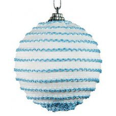 Χριστουγεννιάτικη Μπάλα Λευκή, με Γαλάζιες Κλωστές (10cm)