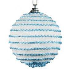 Χριστουγεννιάτικη Μπάλα Λευκή, με Γαλάζιες Κλωστές (8cm)