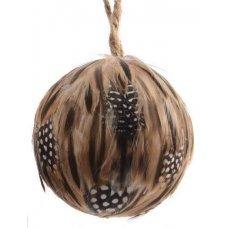 Χριστουγεννιάτικη Μπάλα με Φτερά, Καφέ και Πουά (9cm)