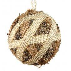 Χριστουγεννιάτικη Μπάλα, με Λινάτσα (10cm)