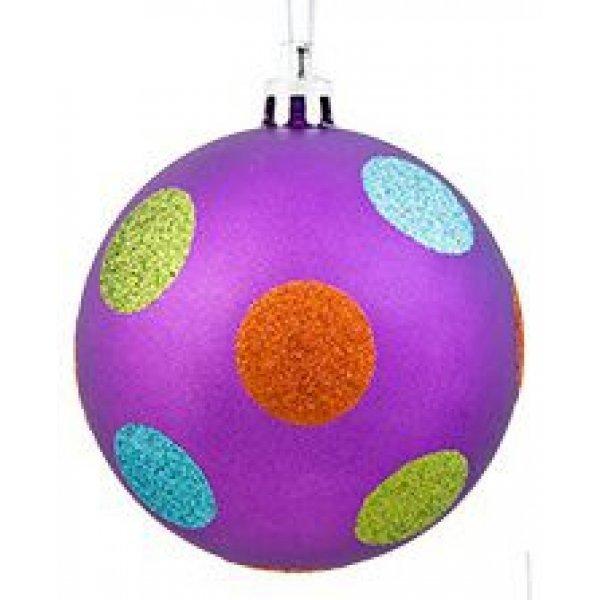 Χριστουγεννιάτικη Μπάλα Μωβ, με Πολύχρωμες Βούλες (8cm)