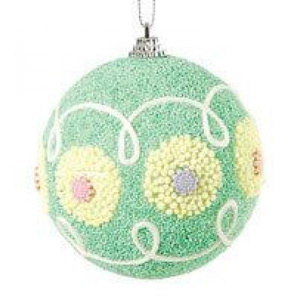 Χριστουγεννιάτικη Μπάλα Πράσινη, με Σχέδια (10cm)