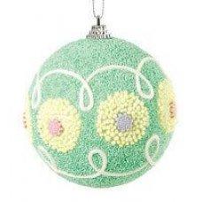 Χριστουγεννιάτικη Μπάλα Πράσινη, με Σχέδια (8cm)