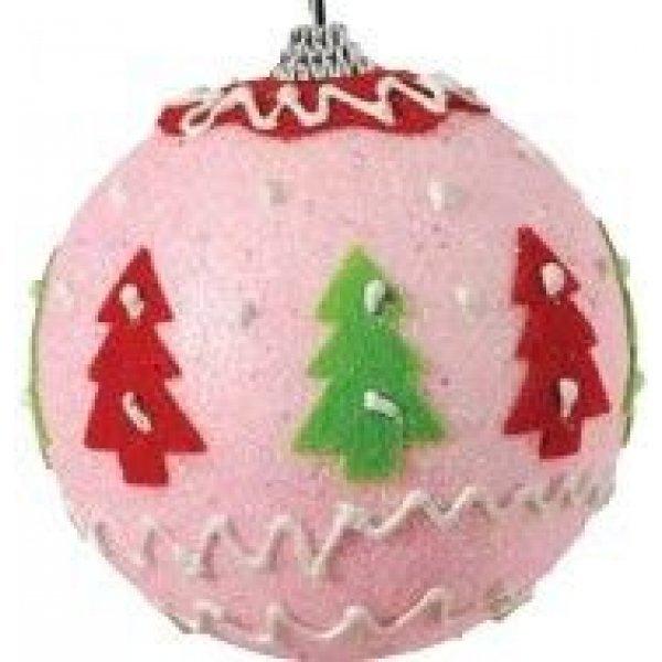 Χριστουγενιάτικη Μπάλα Ροζ με Δεντράκια (10cm)