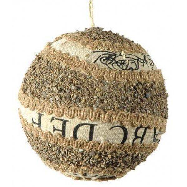 Μπάλα Διακοσμημένη με Χαλικάκια και Λινάτσα