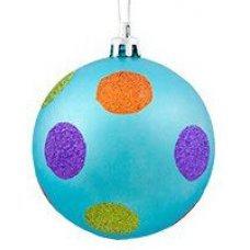 Χριστουγεννιάτικη Μπάλα Γαλάζια, με Πολύχρωμες Βούλες (8cm)