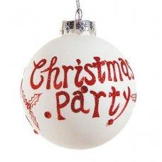 Χριστουγεννιάτικη Γυάλινη Μπάλα Λευκή με Κόκκινο Christmas Party (8cm)