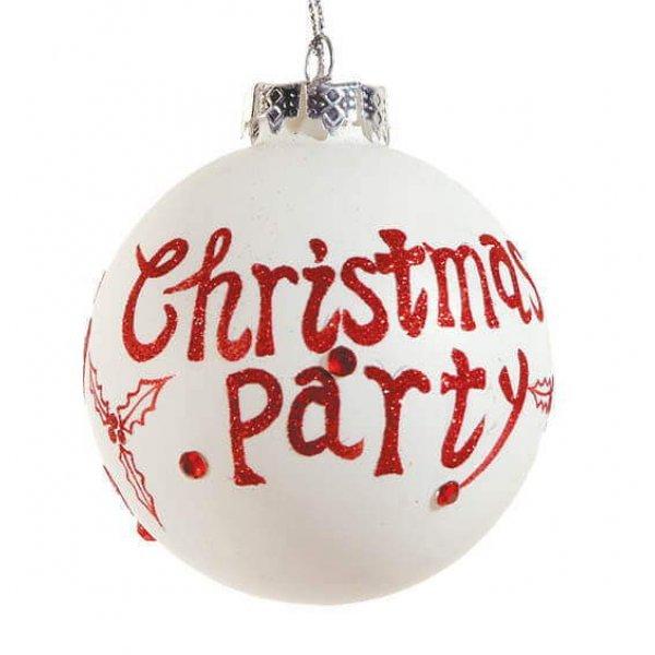 Χριστουγεννιάτικη Γυάλινη Μπάλα Λευκή, με Κόκκινο Christmas Party και Γκι (8cm)