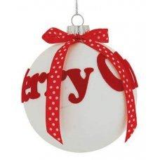 Χριστουγεννιάτικη Γυάλινη Μπάλα Λευκή, με Κόκκινο Merry Christmas και Φιόγκο (8cm)