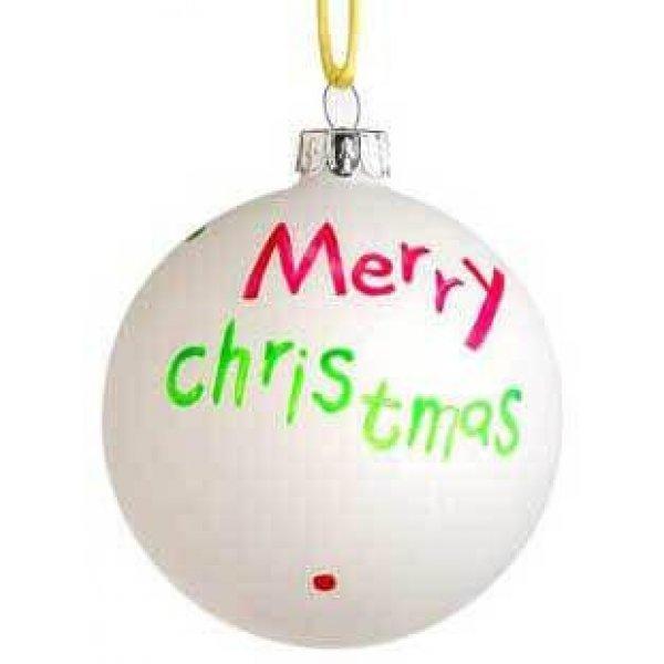 """Χριστουγεννιάτικη Γυάλινη Μπάλα Λευκή, με Πολύχρωμo """"Merry Christmas"""" (9cm)"""