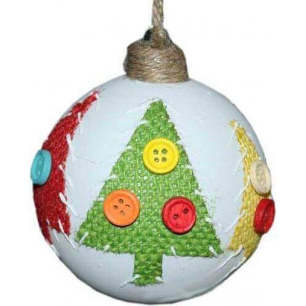 Χριστουγεννιάτικη Γυάλινη Μπάλα Λευκή, Διακοσμημένη με Χρωματιστά Έλατα (8cm)