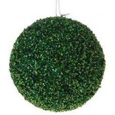 Χριστουγεννιάτικη Πράσινη Μπάλα, με Στρας (10cm)