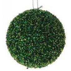 Χριστουγεννιάτικη Πράσινη Μπάλα, με Στρας (8cm)