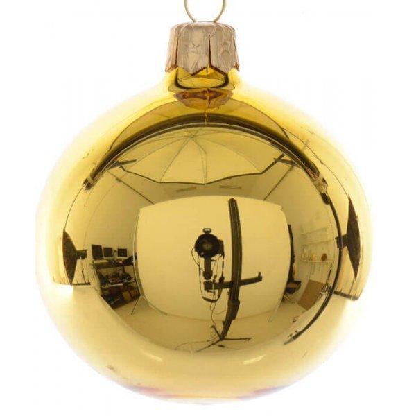 Χριστουγεννιάτικη Γυάλινη Μπάλα Χρυσή Γυαλιστερή (10cm)