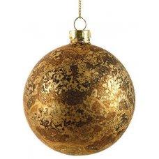 Χριστουγεννιάτικη Γυάλινη Μπάλα Χρυσή, Αντίκα (8cm)