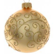 Χριστουγεννιάτικη Γυάλινη Μπάλα Χρυσή, με Ανάγλυφα Σχέδια από Στρας (8cm)