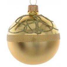Χριστουγεννιάτικη Γυάλινη Μπάλα Χρυσή, με Ανάγλυφα Σχέδια από Στρας στο πάνω μέρος (8cm)