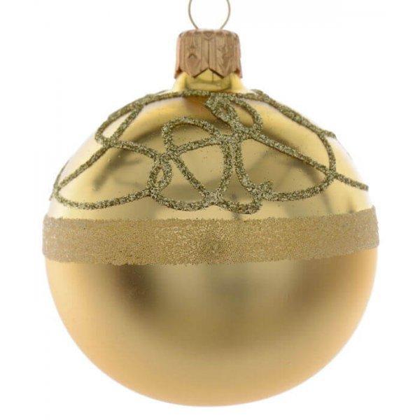 Γυάλινη Μπάλα Χρυσή, με Ανάγλυφα Σχέδια από Στρας