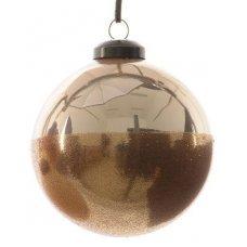 Χριστουγεννιάτικη Γυάλινη Μπάλα Χρυσή, με Χρυσό Στρας (8cm)