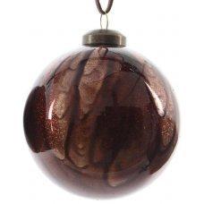 Χριστουγεννιάτικη Γυάλινη Μπάλα Καφέ Ανοιχτό, με Στρας στο Εσωτερικό (8cm)