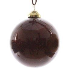 Χριστουγεννιάτικη Γυάλινη Μπάλα Καφέ, με Στρας στο Εσωτερικό (8cm)