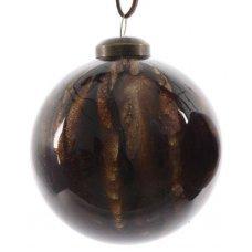 Χριστουγεννιάτικη Γυάλινη Μπάλα Καφέ Σκούρο, με Στρας στο Εσωτερικό (8cm)
