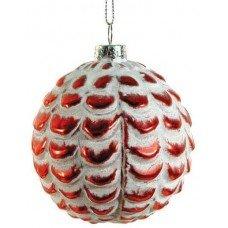 Χριστουγεννιάτικη Γυάλινη Μπάλα Κόκκινη Ανάγλυφη (8cm)
