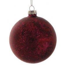 Χριστουγεννιάτικη Γυάλινη Μπάλα Κόκκινη, Αντίκα (10cm)