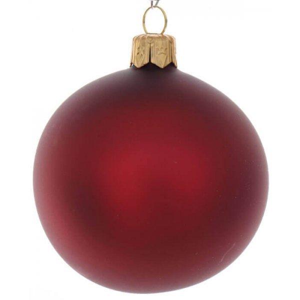 Χριστουγεννιάτικη Γυάλινη Μπάλα Κόκκινη Ματ (8cm)
