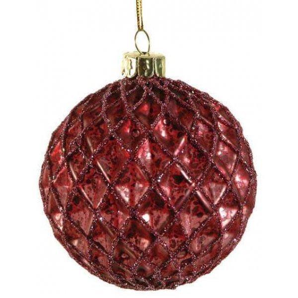 Χριστουγεννιάτικη Γυάλινη Μπάλα Φούξια, με Ανάγλυφους Ρόμβους και Στρας (10cm)