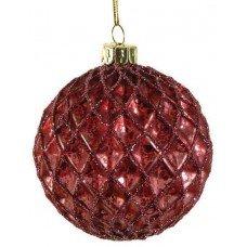 Χριστουγεννιάτικη Γυάλινη Μπάλα Κόκκινη, με Ανάγλυφους Ρόμβους και Στρας (8cm)