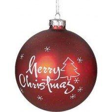 Χριστουγεννιάτικη Γυάλινη Μπάλα Κόκκινη, με Λευκό Merry Christmas και Δεντράκι (8cm)