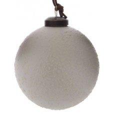 Χριστουγεννιάτικη Γυάλινη Μπάλα Λευκή, με Λευκά Ανάγλυφα Σχέδια (8cm)