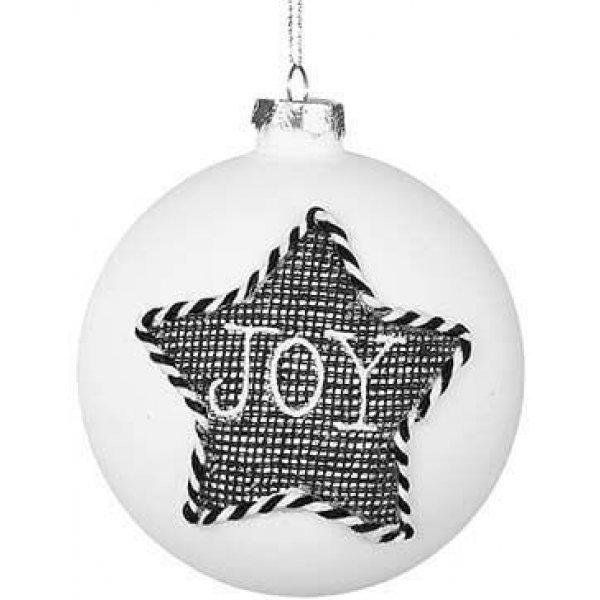 """Χριστουγεννιάτικη Γυάλινη Μπάλα Λευκή με Μαύρο Αστέρι που Γράφει """"JOY"""" (10cm)"""