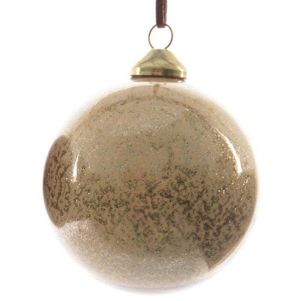 Χριστουγεννιάτικη Γυάλινη Μπάλα Μπεζ, με Στρας στο Εσωτερικό (8cm)