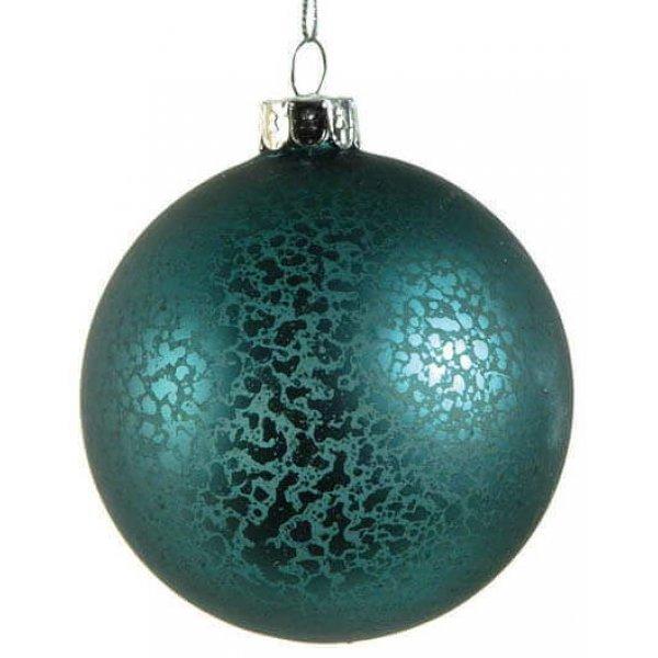 Χριστουγεννιάτικη Γυάλινη Μπάλα Μπλε, Αντίκα (10cm)
