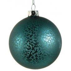 Χριστουγεννιάτικη Γυάλινη Μπάλα Μπλε, Αντίκα (8cm)
