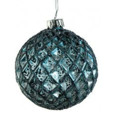 Χριστουγεννιάτικη Γυάλινη Μπάλα Μπλε, με Ανάγλυφους Ρόμβους και Στρας (10cm)