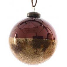 Χριστουγεννιάτικη Γυάλινη Μπάλα Μπρονζέ, με Χρυσό Στρας (8cm)