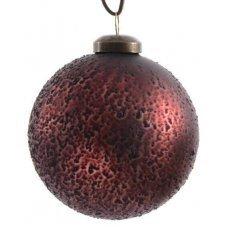 Χριστουγεννιάτικη Γυάλινη Μπάλα Κόκκινη, με Μαύρα Ανάγλυφα Σχέδια (8cm)