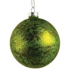 Χριστουγεννιάτικη Γυάλινη Μπάλα Πράσινη, Αντίκα (8cm)