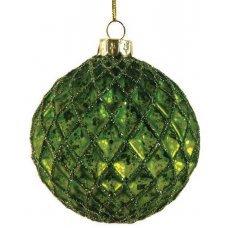 Χριστουγεννιάτικη Γυάλινη Μπάλα Πράσινη, με Ανάγλυφους Ρόμβους και Στρας (10cm)