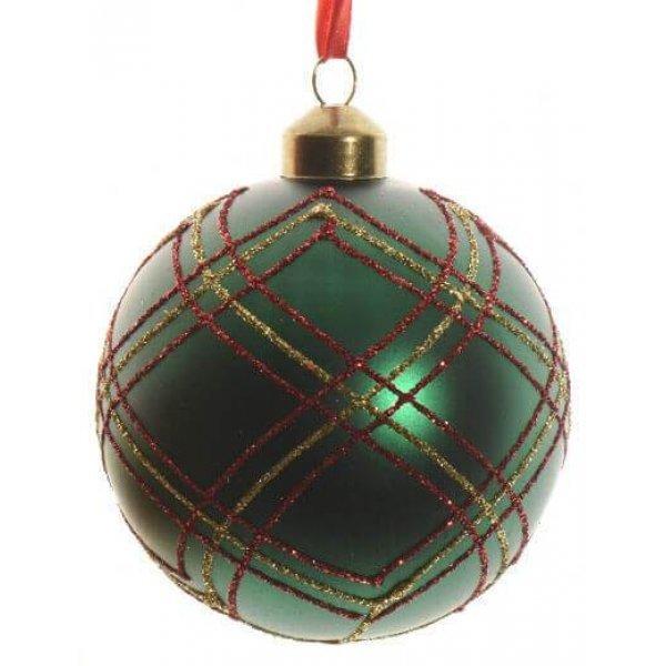 Μπάλα Πράσινη, με Κόκκινα και Χρυσά Σχέδια