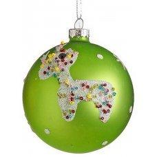 Χριστουγεννιάτικη Γυάλινη Μπάλα Πράσινη, Διακοσμημένη με Ελάφι (8cm)