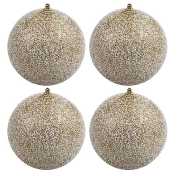 Χριστουγεννιάτικες Μπάλες Χρυσές Χιονισμένες, Σετ 4 τεμ. (10cm)