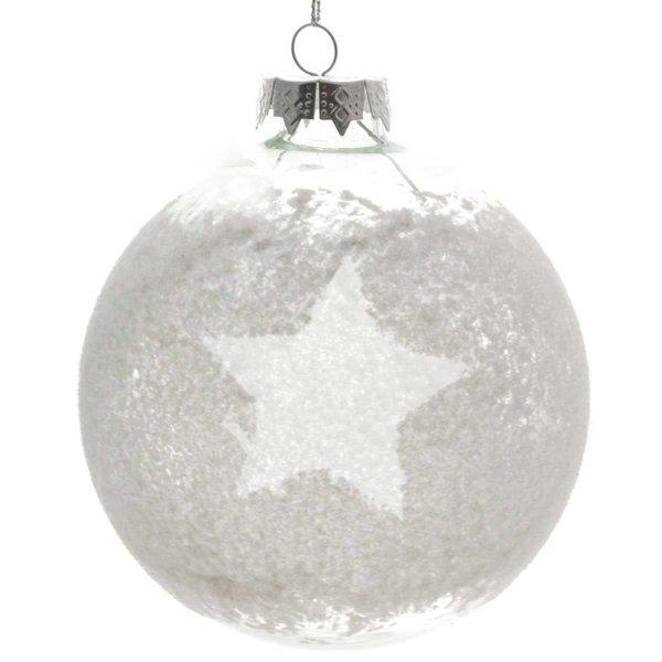 Χριστουγεννιάτικη Γυάλινη Μπάλα Διάφανη, με Αστέρι (10cm)