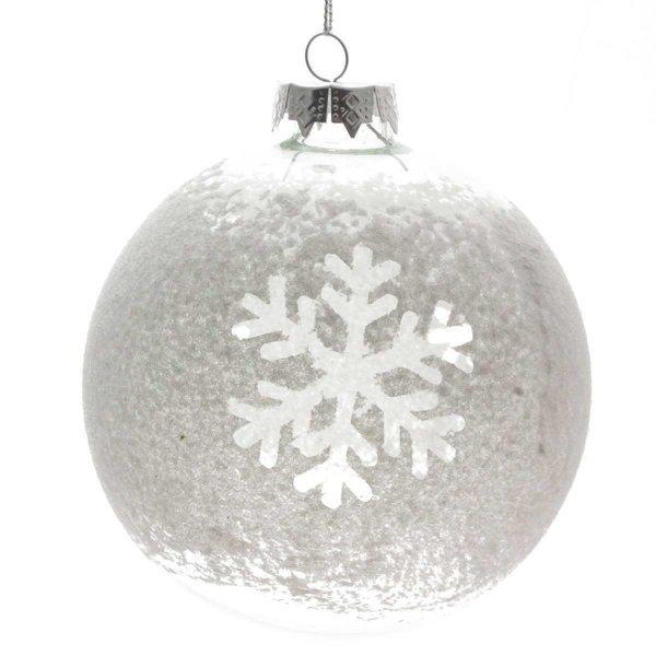 Χριστουγεννιάτικη Γυάλινη Μπάλα Διάφανη με Χιονιφάδα (10cm)