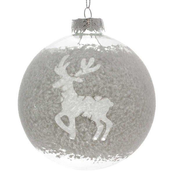 Χριστουγεννιάτικη Γυάλινη Μπάλα Διάφανη με Τάρανδο (10cm)