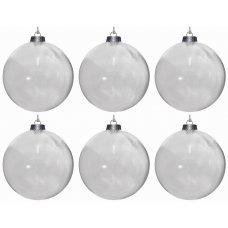 Χριστουγεννιάτικες Μπάλες Διάφανες - Σετ 6 τεμ. (8cm)